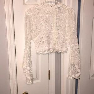 White, mesh, formal shirt